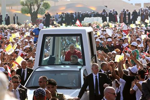 Pope Benedict XVI waves to the faithful as he arrives to conduct an open-air Mass service at Beirut City Center Waterfront on Sept. 16, 2012. (The Daily Star/Hasan Shaaban)