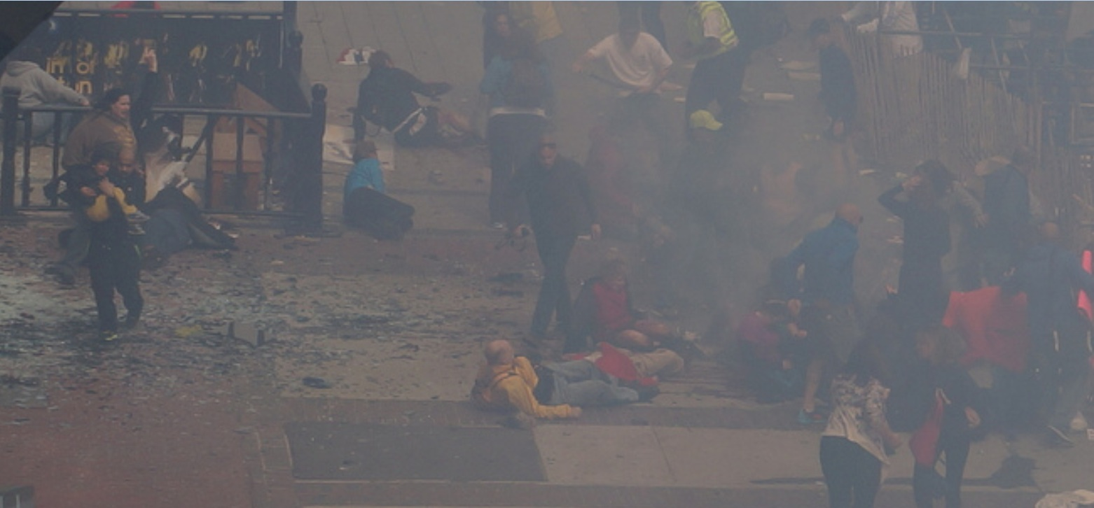 Boston Marathon first explosion hahatango Zahirs-crop for Superhero Cowboy t04-10-41 e00m57s d02-50-54 F12 Cowboy crouching at the fence Woman in brown sweatshirt moving forward from stageleft