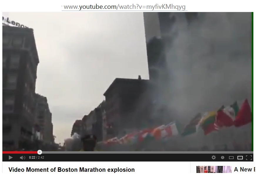 Video Image Explosion at Boston Marathon F3 Second Explosion Smoke Rising v00-00-22 t04-10-00i