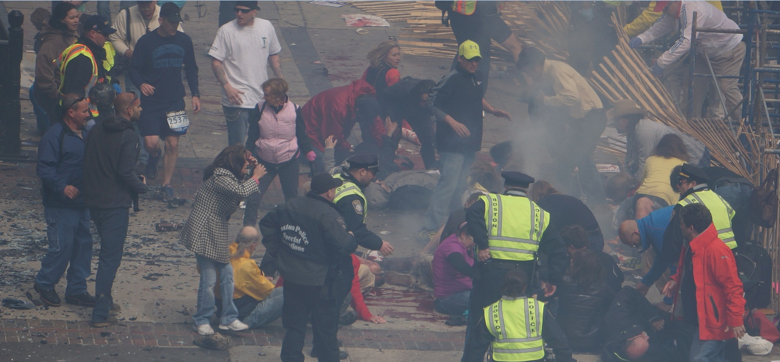 Boston Marathon first explosion hahatango Zahirs-crop for Superhero Cowboy t04-11-04m e01m20s d02-51-18 F15 Cowboy crouching at the fence still far from the legless superman victim