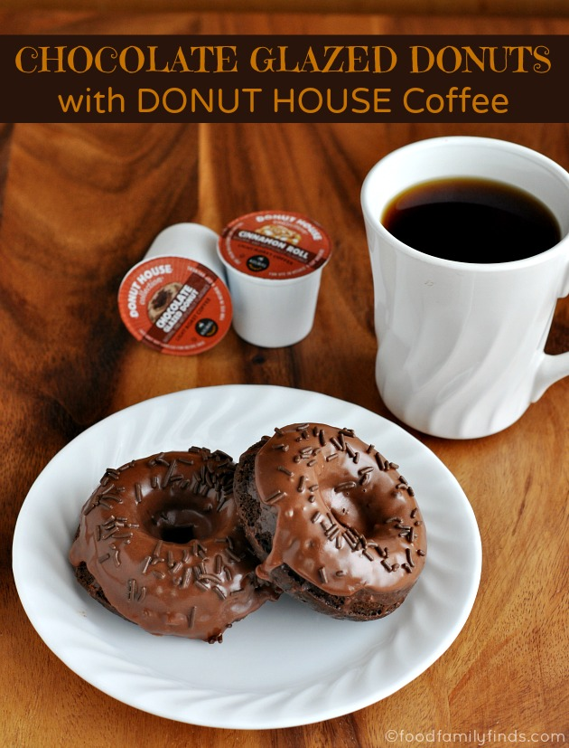 Chocolate Glazed Donuts with Donut House Coffee