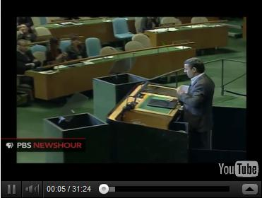 Click to Watch Iranian President Ahmadinejad taking on the Hectoring Hegemons on their own turf at the UN