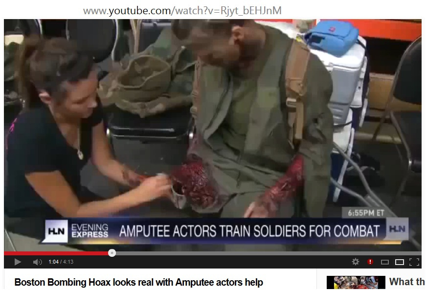 Video Image Amputee Actors Train Soldiers For Combat - Boston Bombing Hoax looks real with Amputee actors help