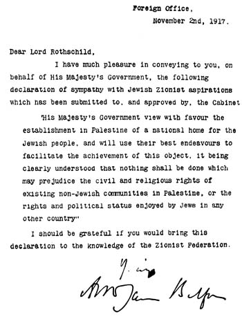 The Balfour Declaration November 2nd 1917