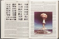 Holy Bible reprinted with images of war, genocide and comedy overlaid
