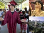 Success: Lloyd Chen, whose mother Susie Yun, inset, struggled financially to raise him, has been accepted to nine top universities, including Harvard