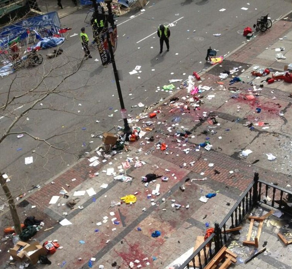 Horrific Scene: The aftermath of the Boston Marathon bombing on Monday evening in the city