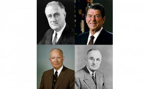 Presidents FDR, Reagan, Truman, Eisenhower