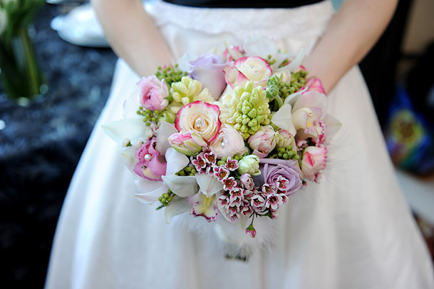 pink green blush bouquet vancouver