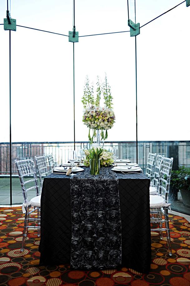 charcoal rosette table runner black satin linen