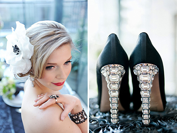 white black hairpiece floral black jeweled heels