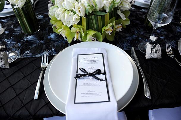 vancouver wedding inspiration black white menu ribbon white charger
