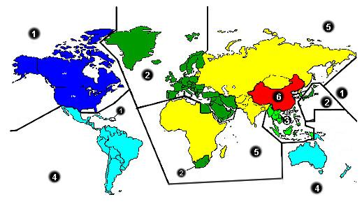 DVD region map of the world