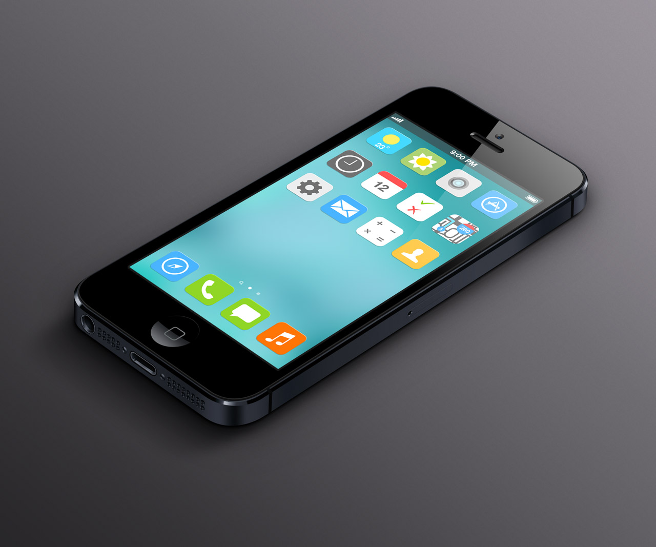 ios 7 flat homescreen Eight iOS 7 flat UI mockups