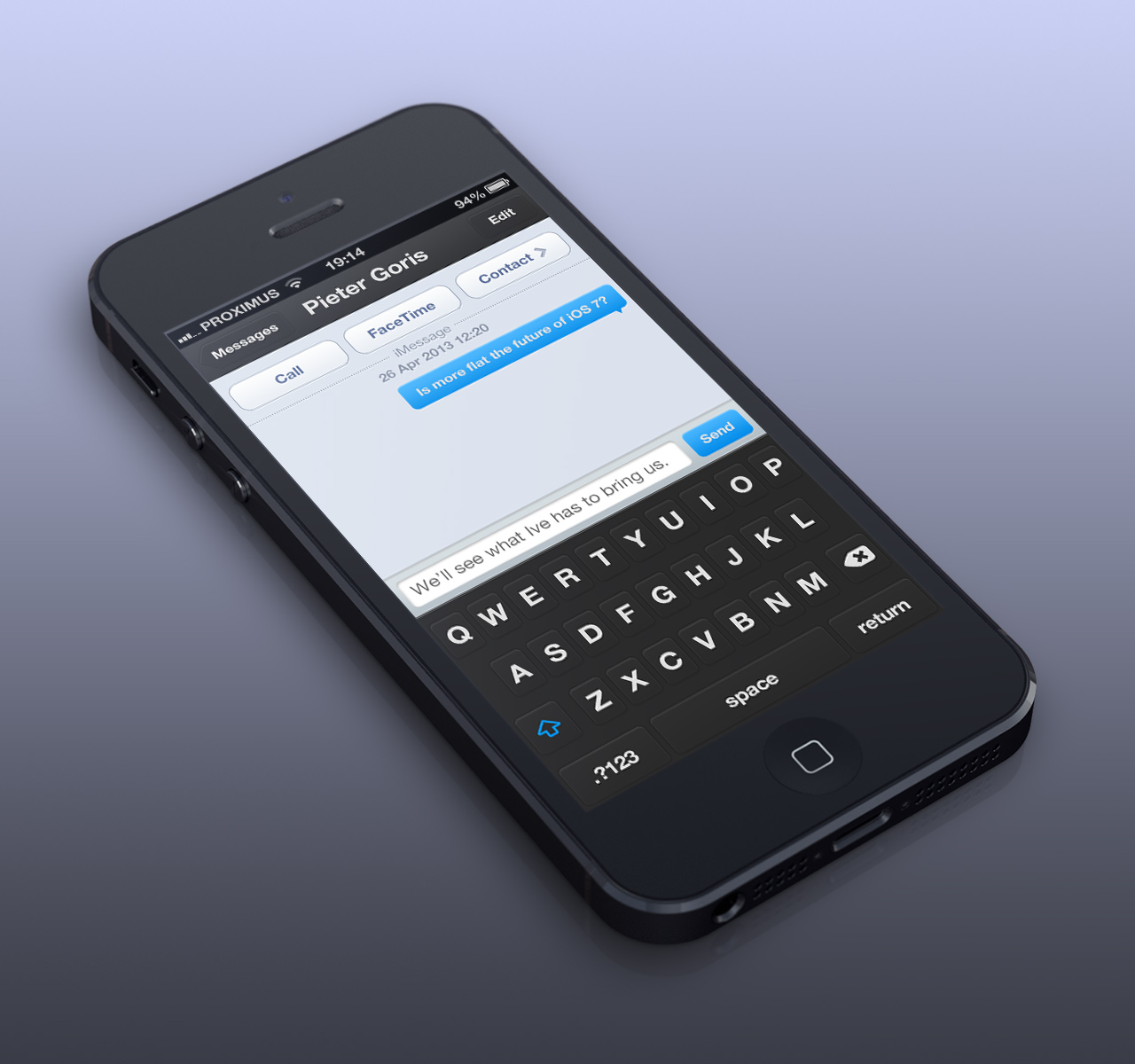 flat messages ios7 Eight iOS 7 flat UI mockups