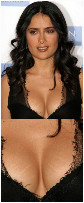 Salma Hayek breast stretch marks Magic or Massage   How do celebrities get rid of stretch marks?