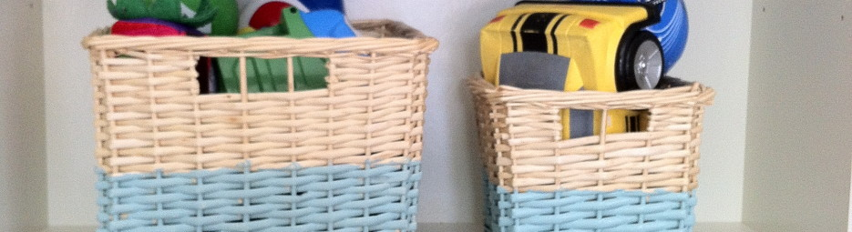 The Before and After of my old wicker baskets