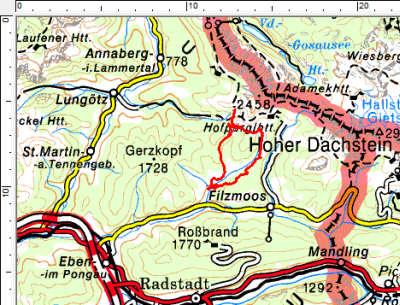 Das Tourengebiet nördlich von Filzmoos