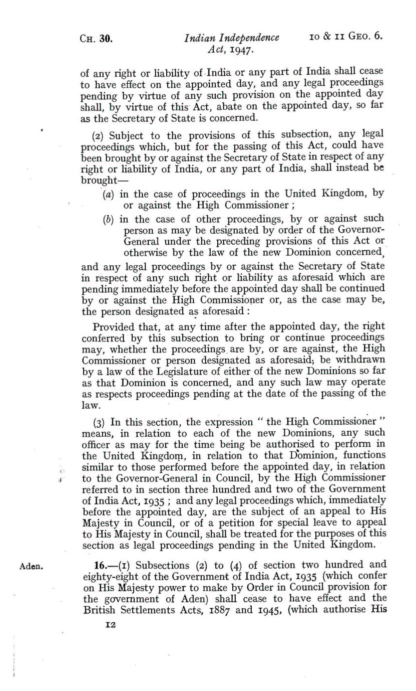 UK Indian Independence Act, 1947, 18th July 1947 page 12