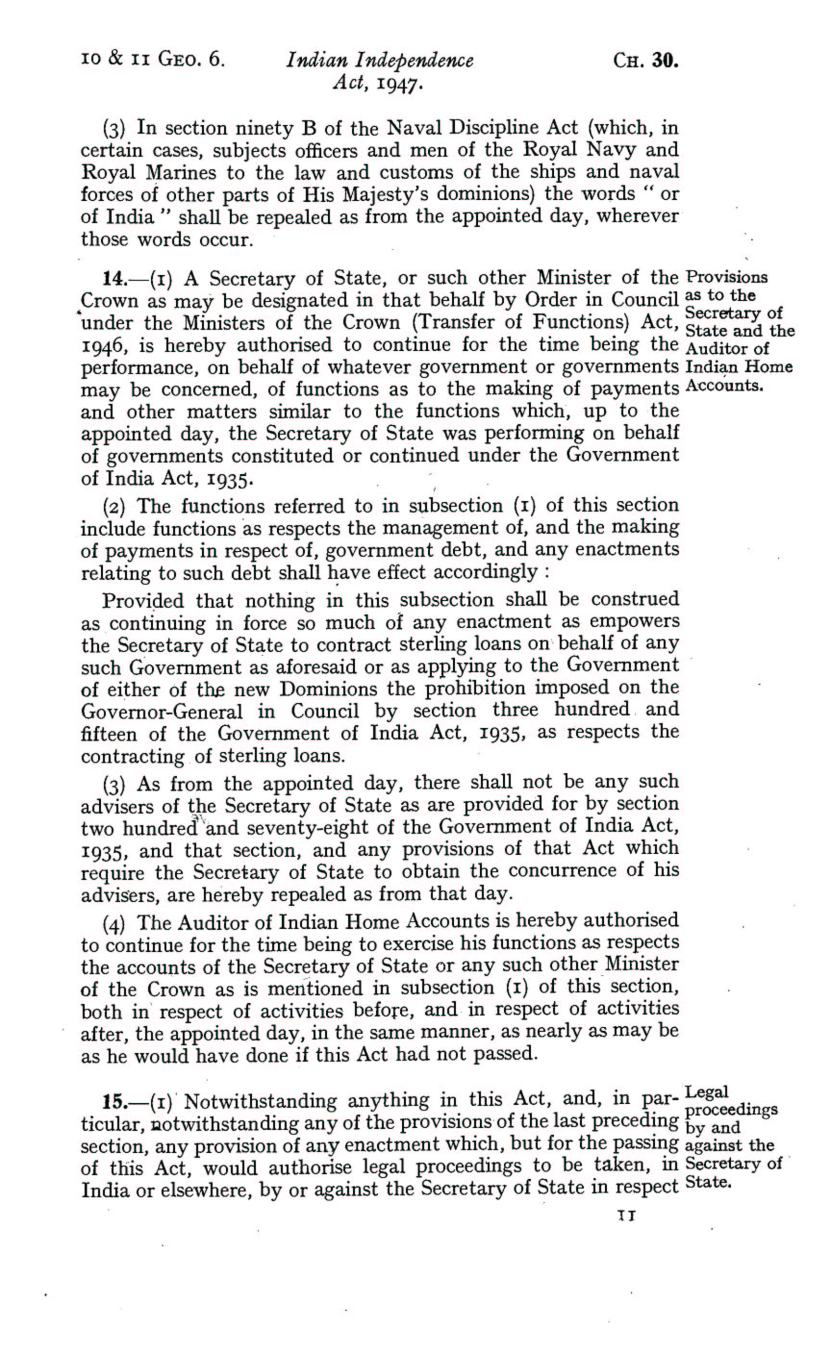 UK Indian Independence Act, 1947, 18th July 1947 page 11