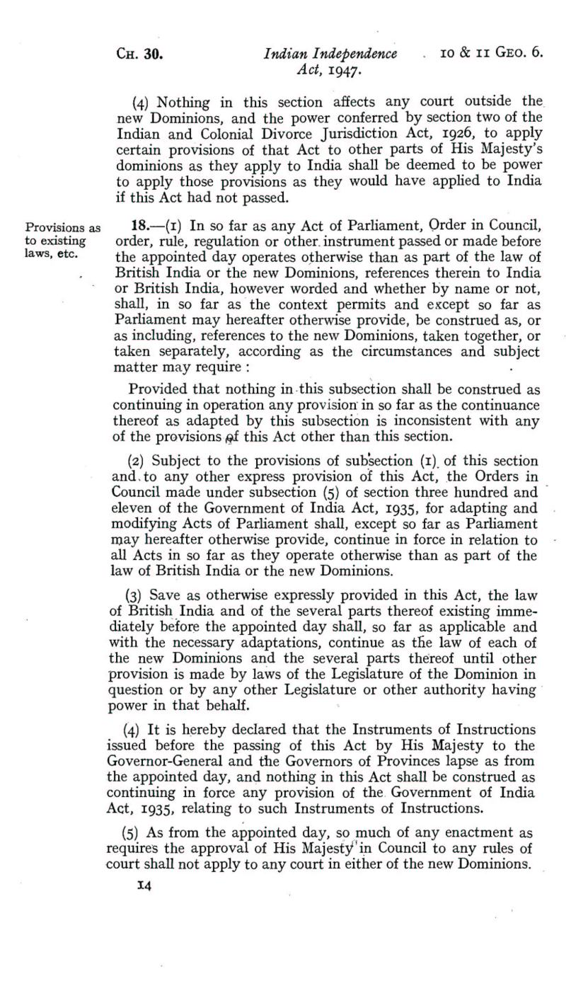 UK Indian Independence Act, 1947, 18th July 1947 page 14
