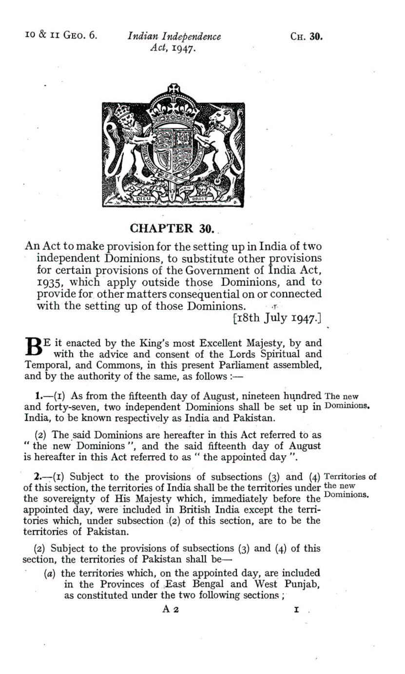 UK Indian Independence Act, 1947, 18th July 1947 page 01