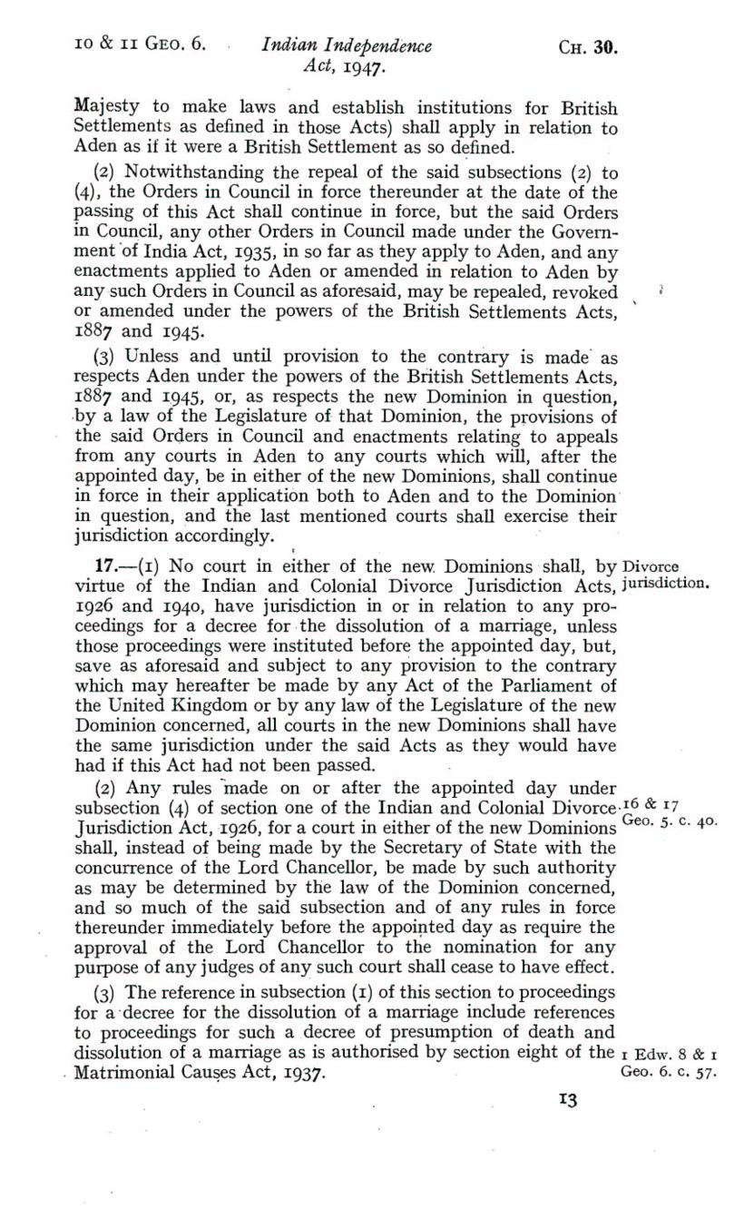 UK Indian Independence Act, 1947, 18th July 1947 page 13