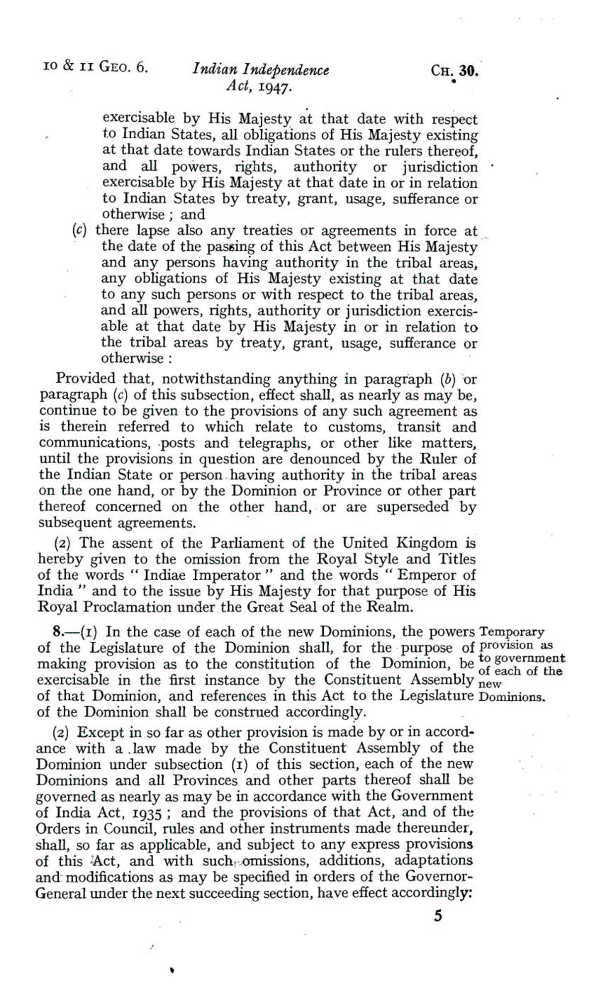 UK Indian Independence Act, 1947, 18th July 1947 page 05