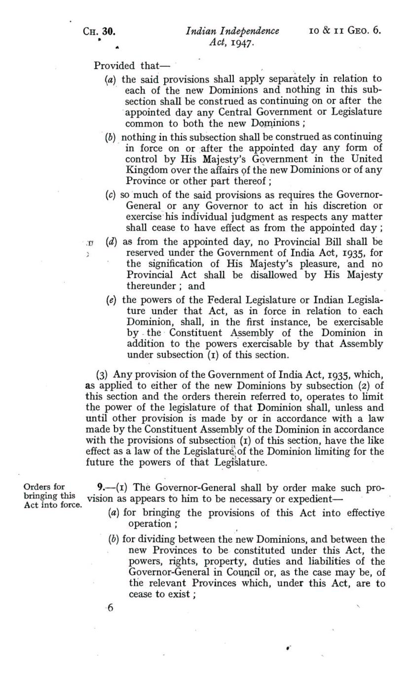 UK Indian Independence Act, 1947, 18th July 1947 page 06