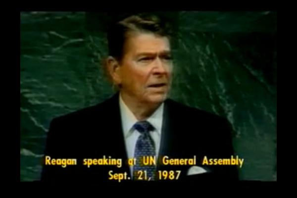 Click here to watch: President Ronald Reagan Ponders The Beneficial Consequences of an Alien Threat from Another Planet, Speaking at the UN General Assembly, September 21, 1987