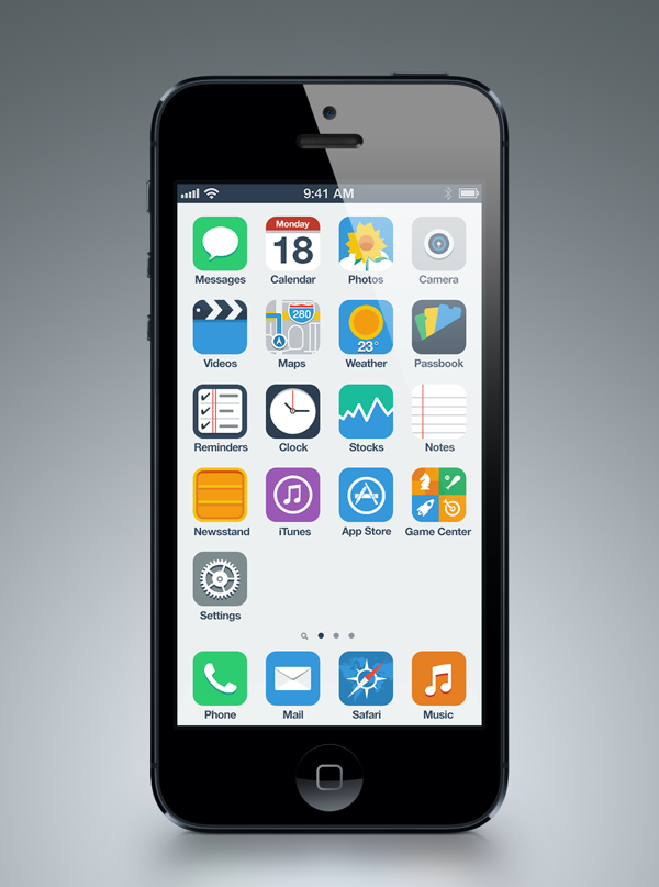 flat ios 7 simple Eight iOS 7 flat UI mockups