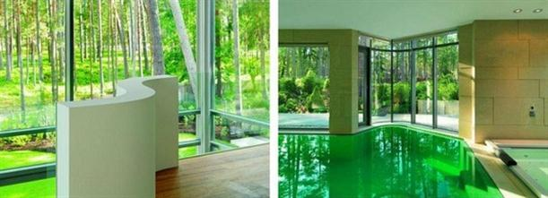 Inner pool at Modern U-Shaped Villa Design with White Painted Exterior