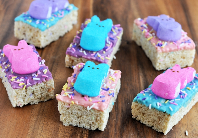 easter rice kirspies treats with pastel peeps