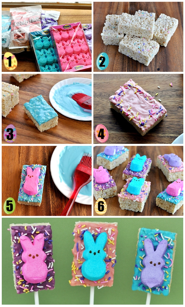 How to Make Easter Rice Krispies Peeps Pops