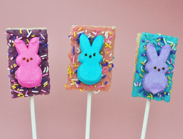 rice krispies easter peeps bunny treat pops
