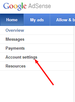click on account settings in adsense