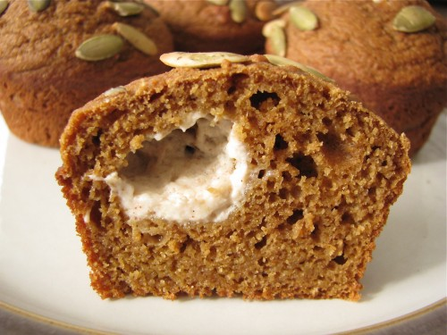 Pumpkin Muffins with Spiced Cream Cheese Filling