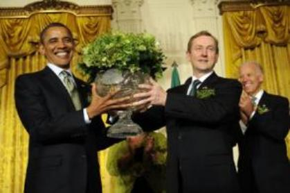 Irish Prime Minister Enda Kenny attended the White House reception to mark St Patrick's day last night