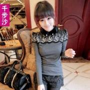千步沙2013春装新款女装韩版修身娃娃领泡泡袖蕾丝拼接打底针织衫