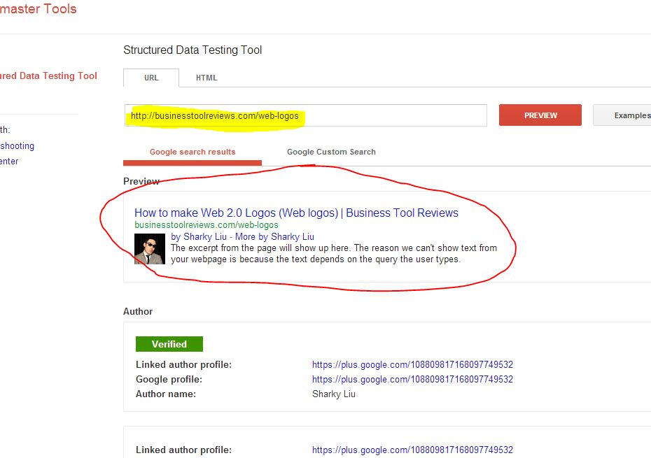 image rich snippet google search preview