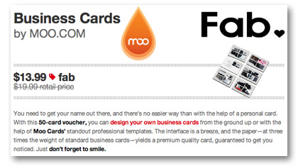 Fab Moo.com business card sale