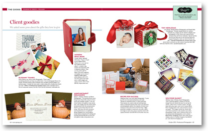 Professional Photographer Magazine October 2012 client gift ideas