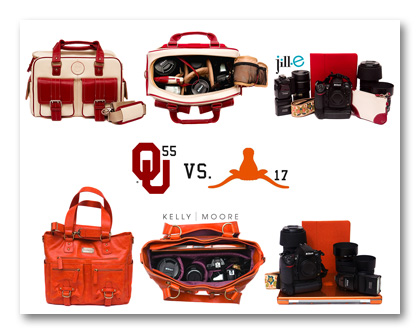 2011 OU Oklahoma Sooners vs UT Texas Longhorns camera bag edition Red River Rivalry