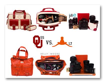 2011 OU Oklahoma Sooners vs UT Texas Longhorns camera bag edition Red River Rivalry