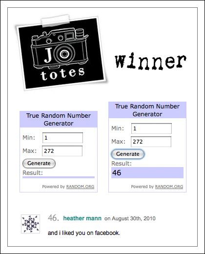 Jo Totes contest winner
