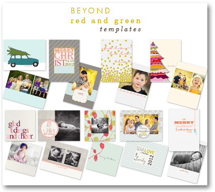 beyond red & green holiday cards templates