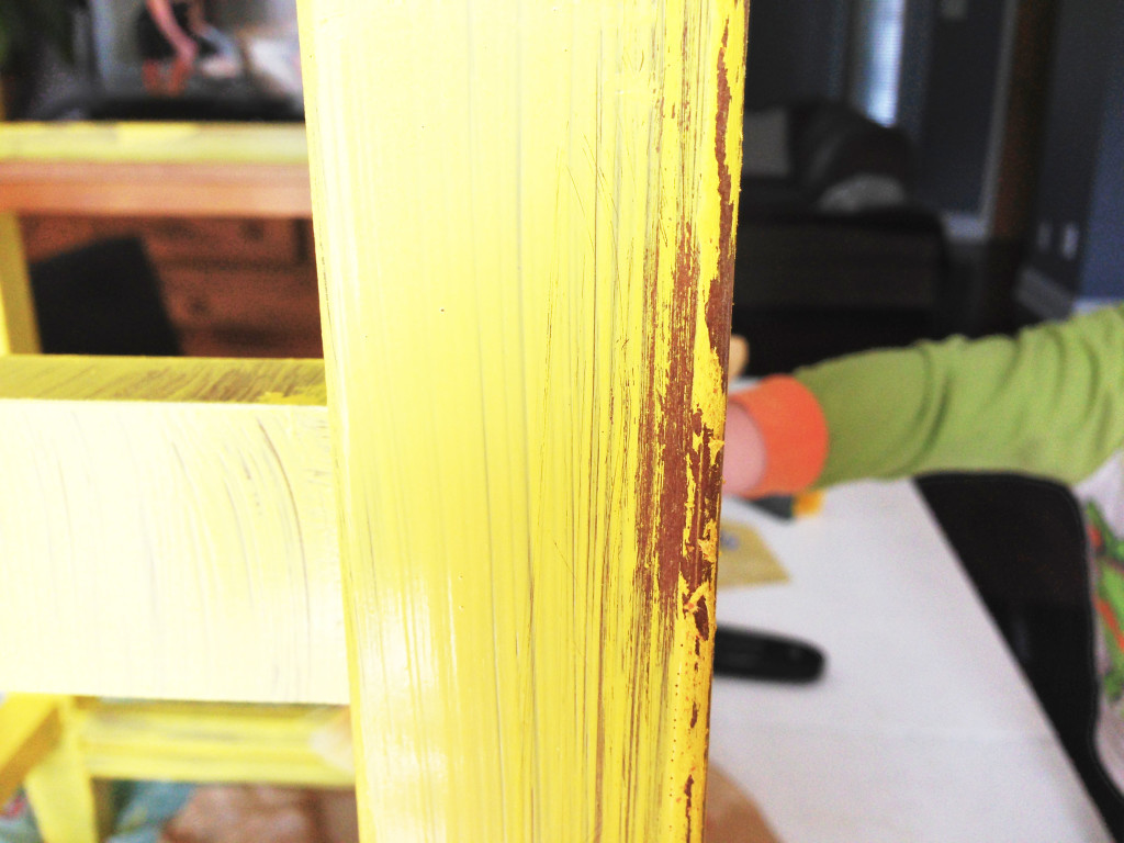 sanding after painting DIY mini kitchen island yellow- 05