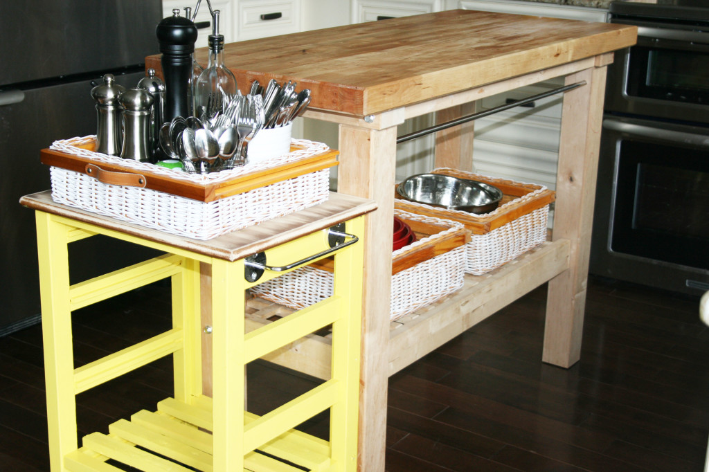 DIY mini kitchen island yellow- 24