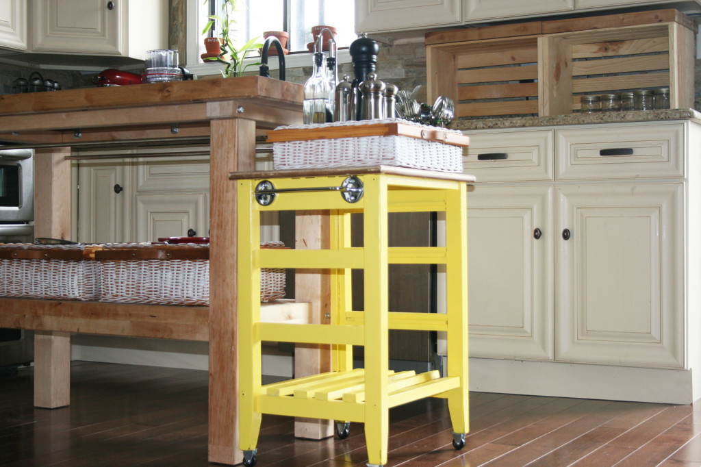 DIY mini kitchen island yellow- 22-maybe