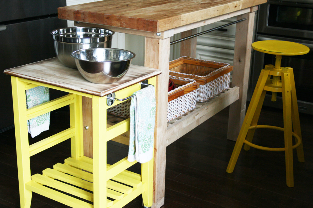 DIY mini kitchen island yellow- 19-03